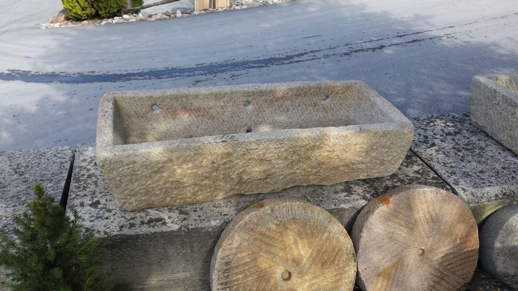 ANTIQUE GRANITE WATERING TROUGH 20-x-47-x-11