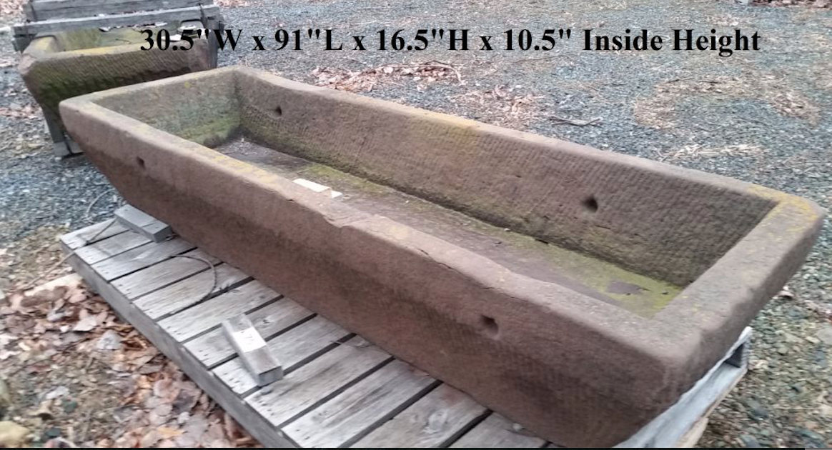 ANTIQUE BROWNSTONE WATERING TROUGH