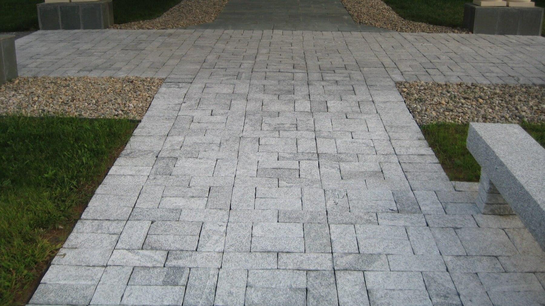 "GRAY Granite Bush Hammered Paver 6x12x3""+/-"