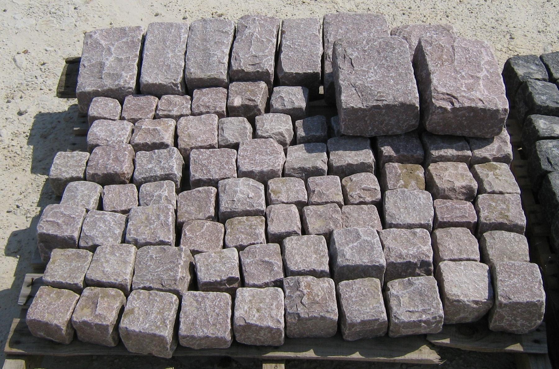 ROSE Granite Cobbles Cubes Regulars & Jumbos