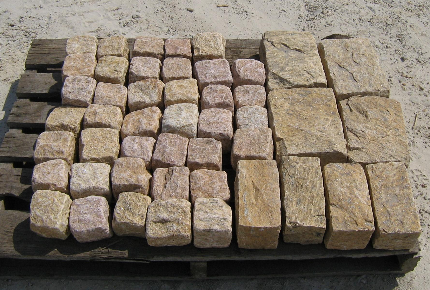YELLOW Granite Cobble Cubes, Regulars & Jumbos